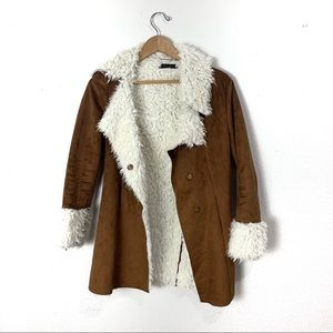 Honey Punch penny lane faux suede faux fur coat S